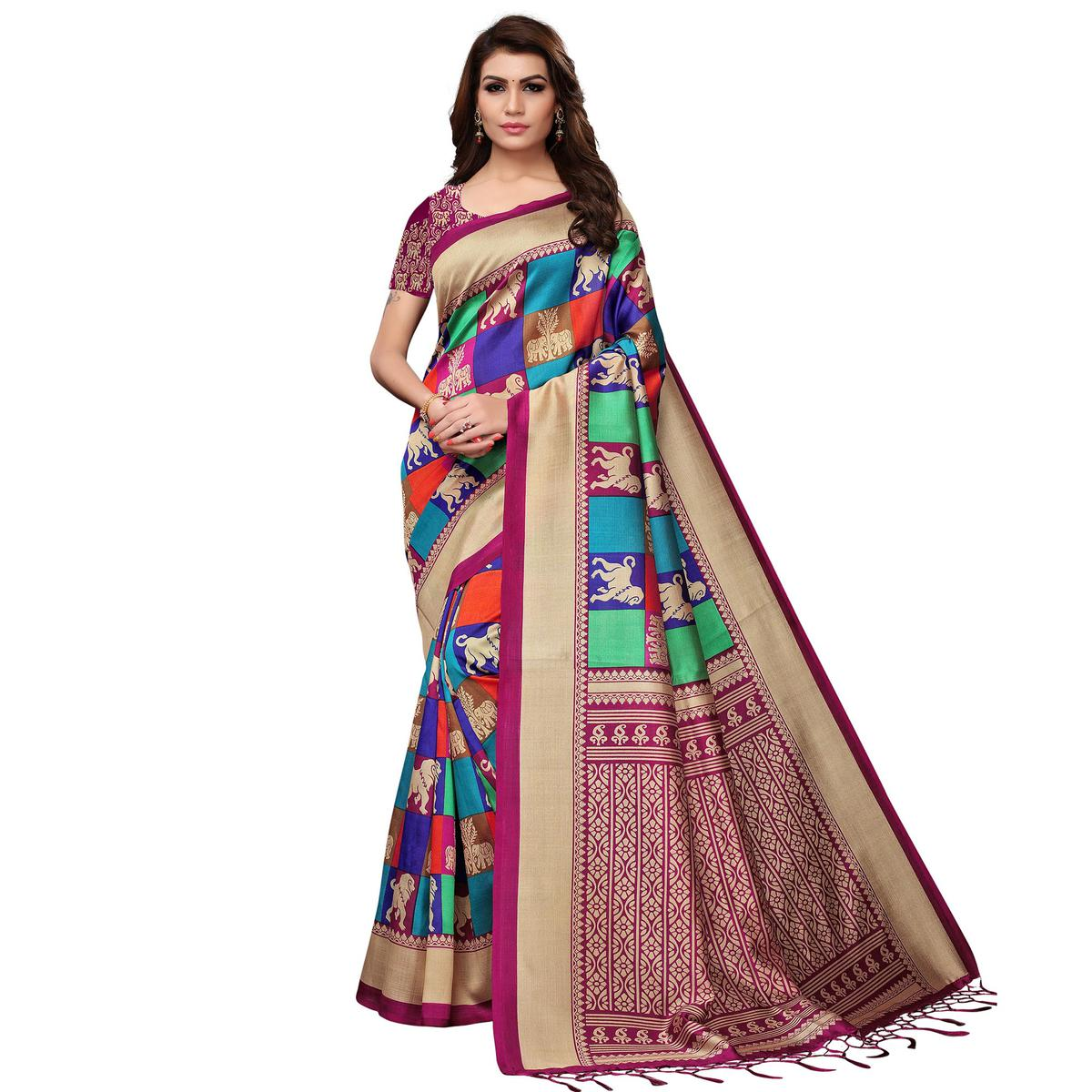 Mesmeric Multi - Magenta Pink Colored Festive Wear Printed Mysore Silk Saree