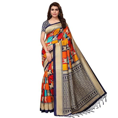 Unique Multi - Navy Blue Colored Festive Wear Printed Mysore Silk Saree
