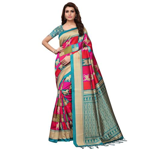 Demanding Multi - Rama Green Colored Festive Wear Printed Mysore Silk Saree