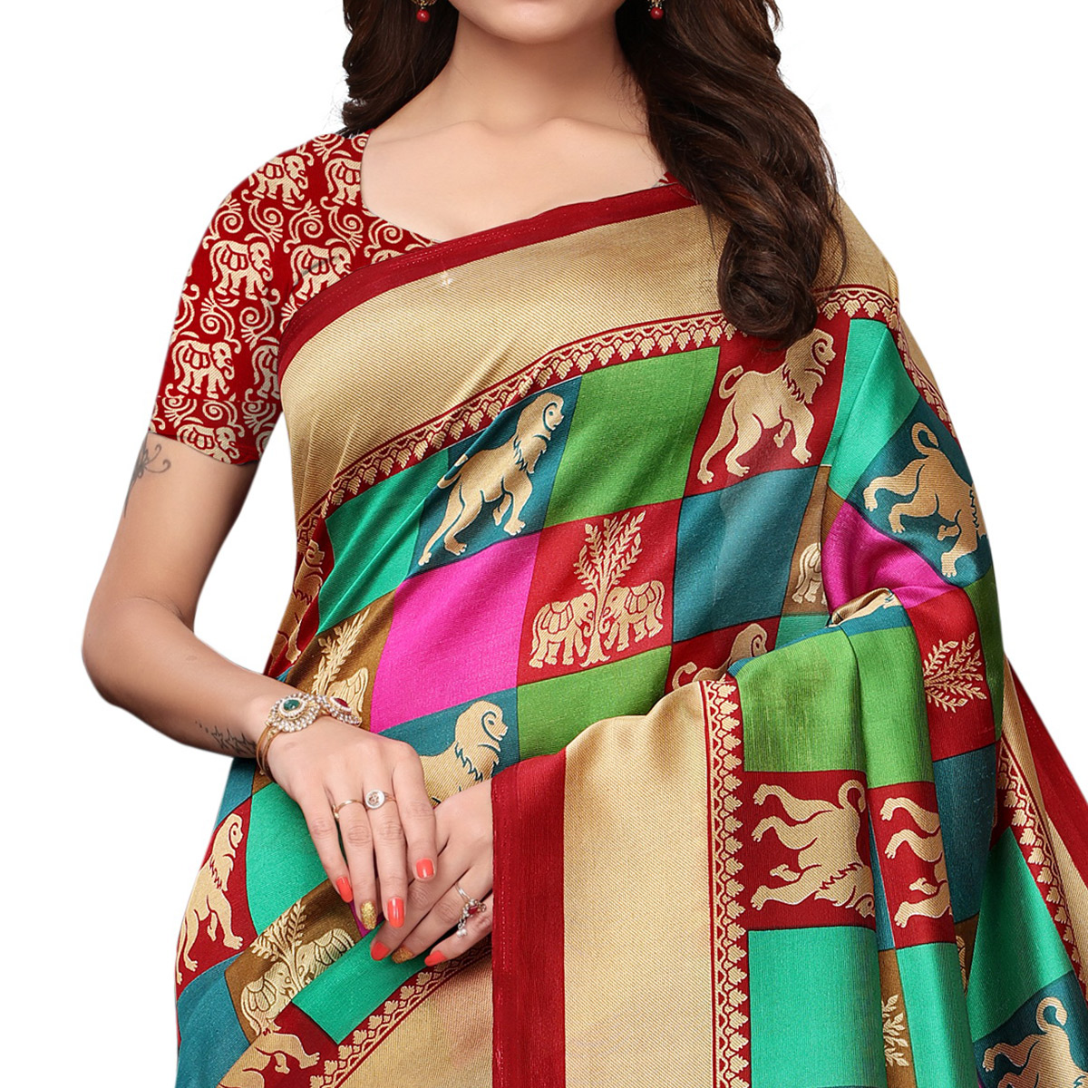 Refreshing Multi - Maroon Colored Festive Wear Printed Mysore Silk Saree