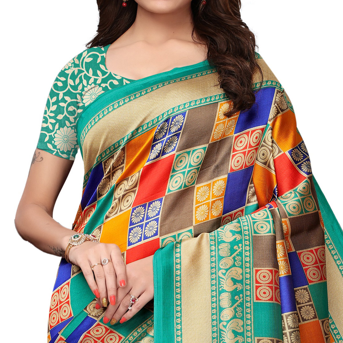 Magnetic Multi - Turquoise Green Colored Festive Wear Printed Mysore Silk Saree