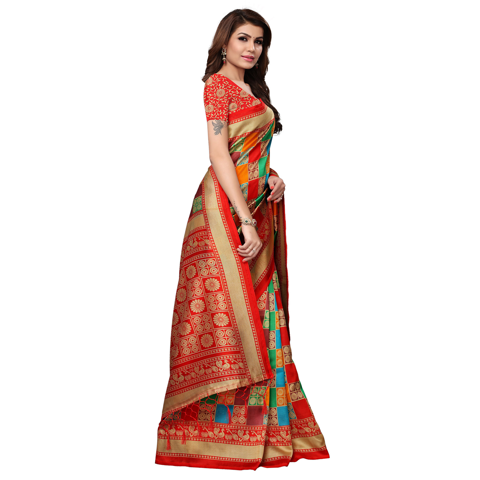 Hypnotic Multi - Red Colored Festive Wear Printed Mysore Silk Saree