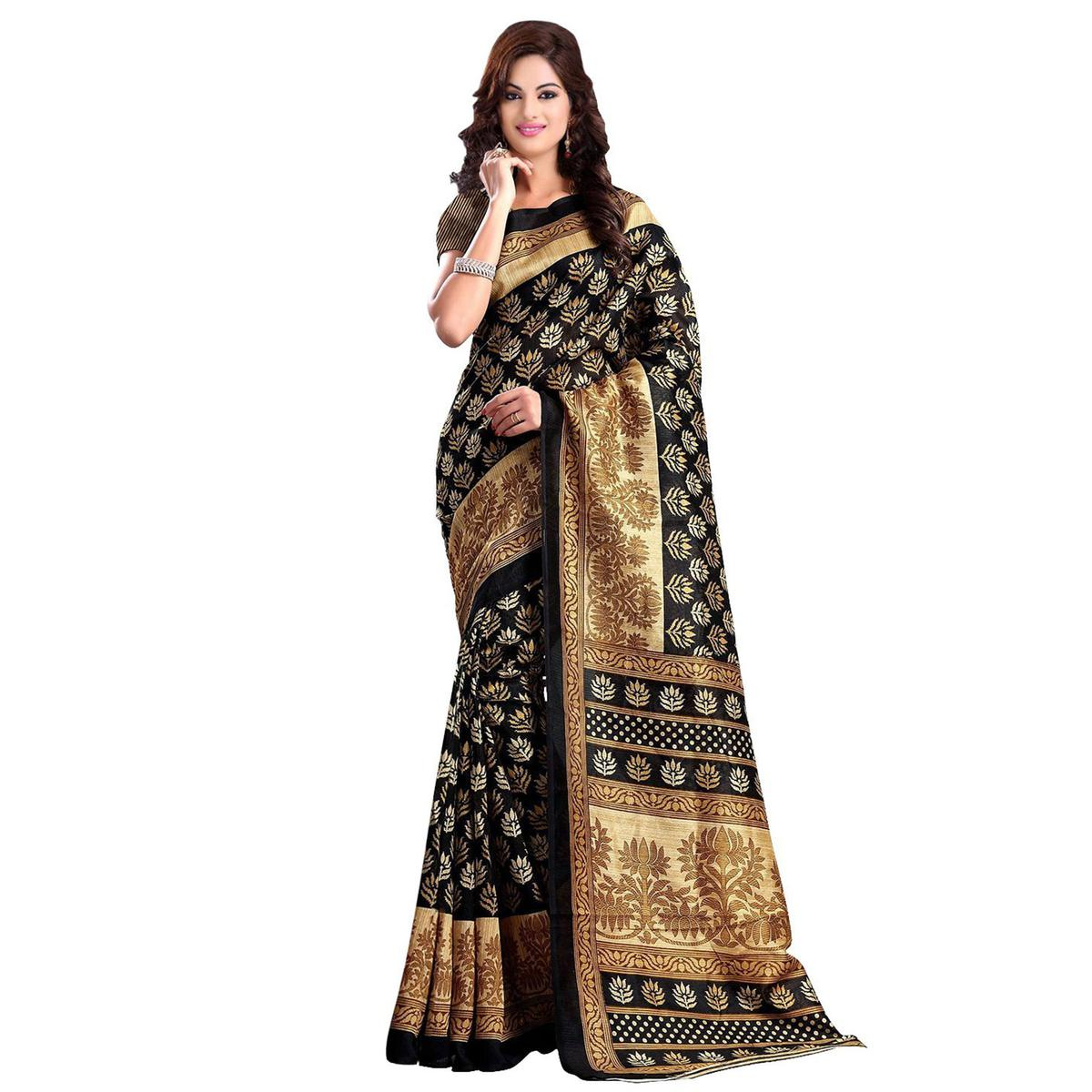 Black - Golden Floral Printed Saree