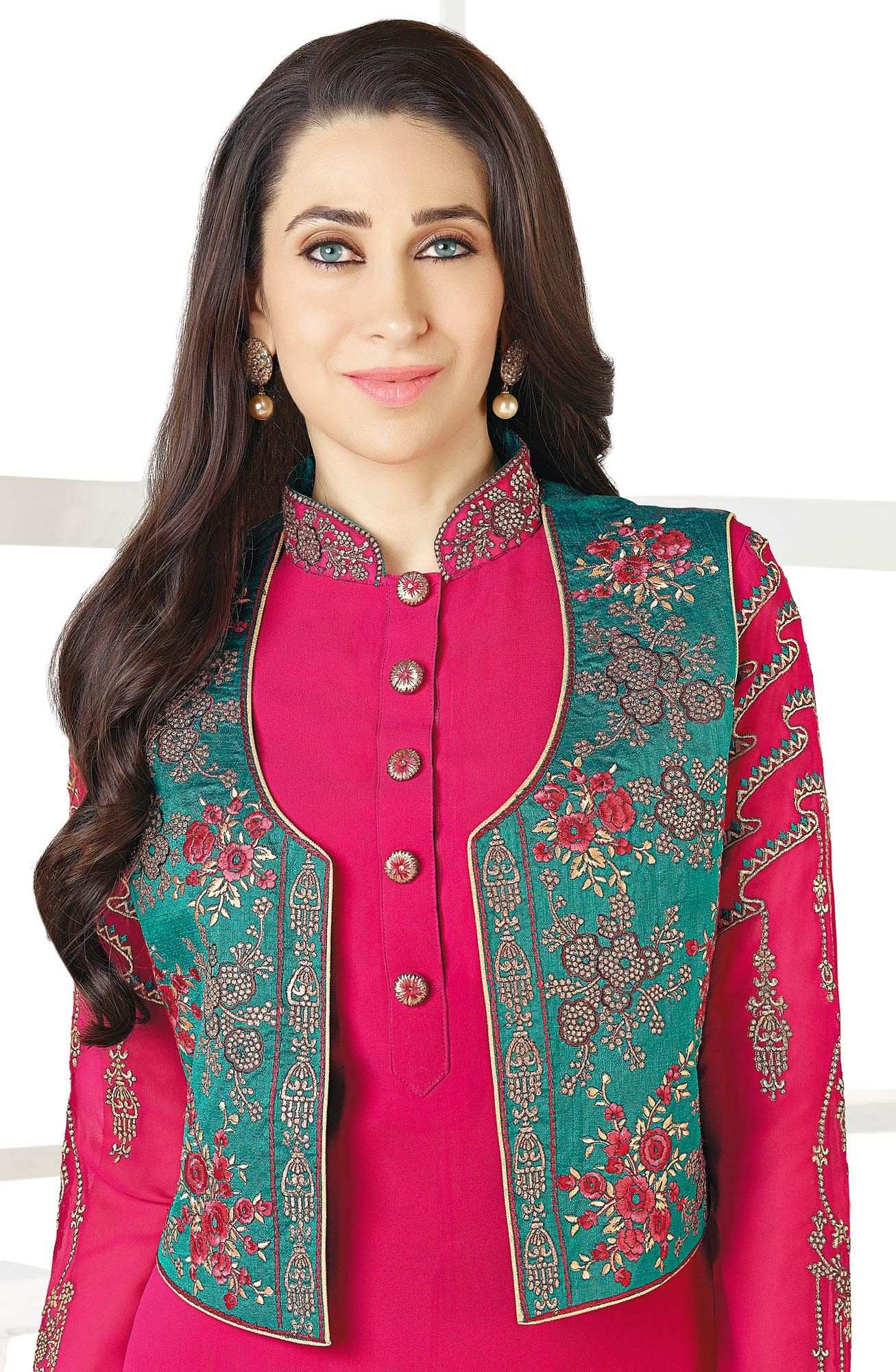 Elegant Pink-Green Designer Embroidered Faux Georgette Salwar Suit