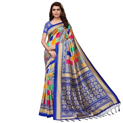 Elegant Multi - Blue Colored Festive Wear Printed Mysore Silk Saree