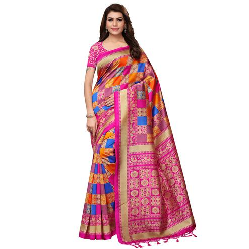 Excellent Multi - Pink Colored Festive Wear Printed Mysore Silk Saree