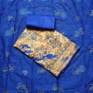 Beautiful Beige-Blue Colored Partywear Embroidered Cotton Dress Material