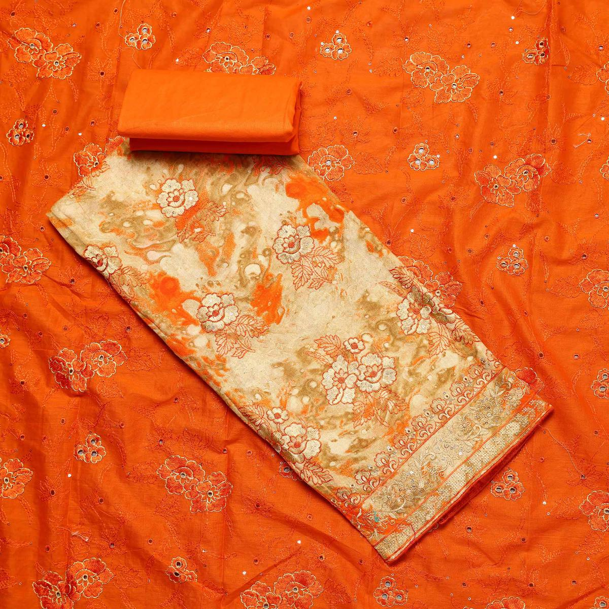 Adorable Beige-Orange Colored Partywear Embroidered Cotton Dress Material