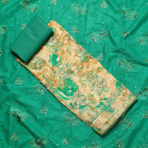 Classy Beige-Turquoise Green Colored Partywear Embroidered Cotton Dress Material