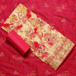 Glowing Beige-Dark Pink Colored Partywear Embroidered Cotton Dress Material