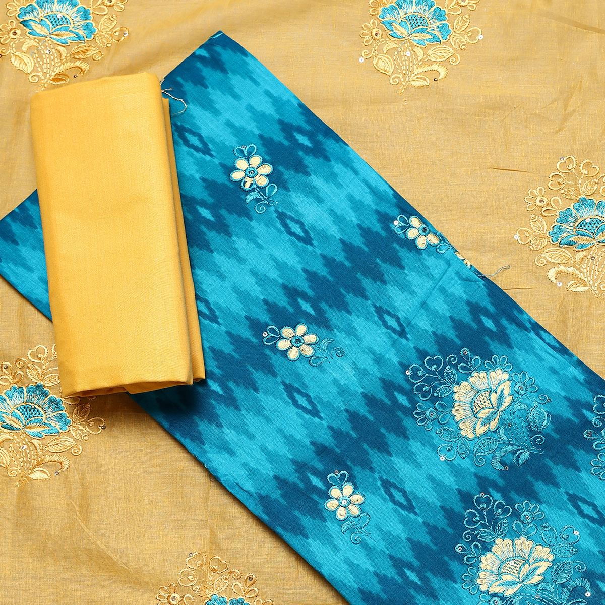 Engrossing Sky Blue Colored Partywear Embroidered Cotton Dress Material