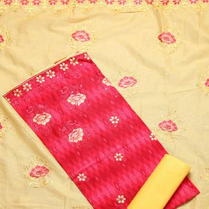 Eye-catching Pink Colored Partywear Embroidered Cotton Dress Material
