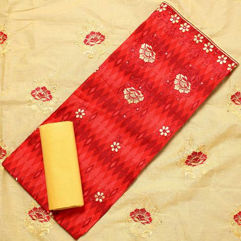 Fantastic Red Colored Partywear Embroidered Cotton Dress Material