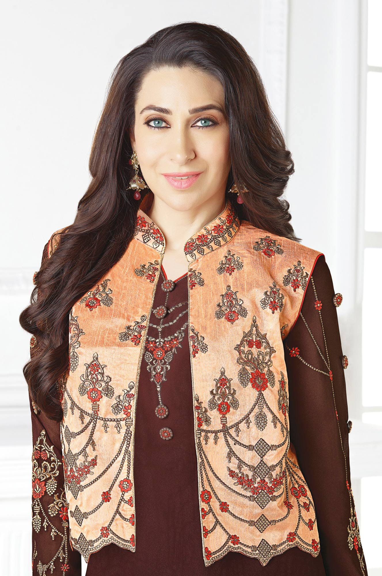 Stunning Brown Designer Embroidered Faux Georgette Salwar Suit