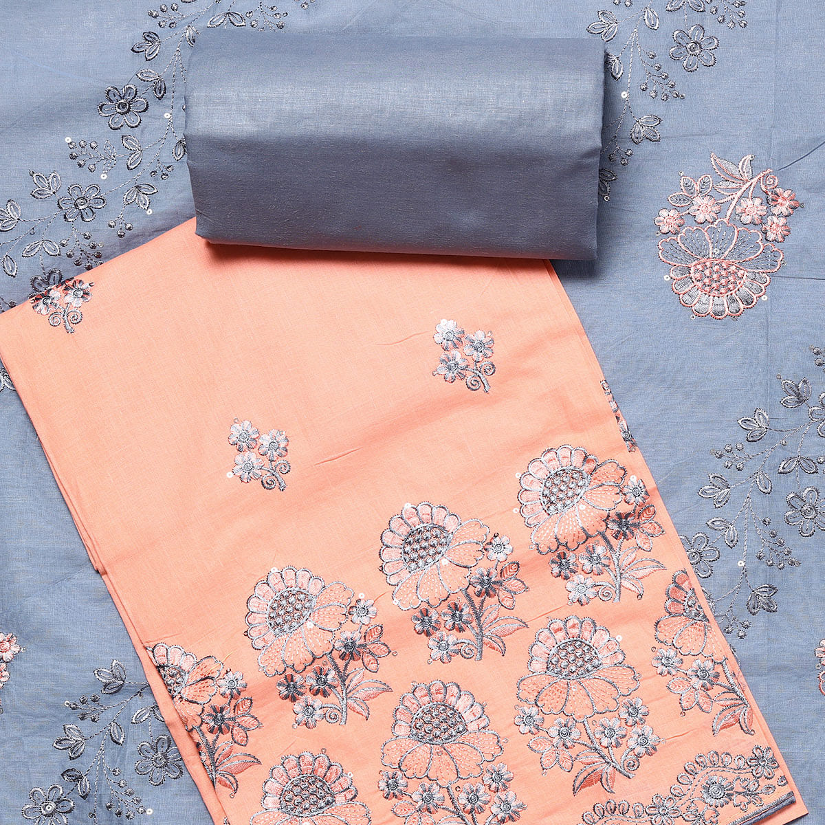 Glorious Peach Colored Partywear Embroidered Cotton Dress Material