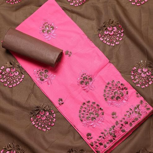 Excellent Pink Colored Partywear Embroidered Cotton Dress Material