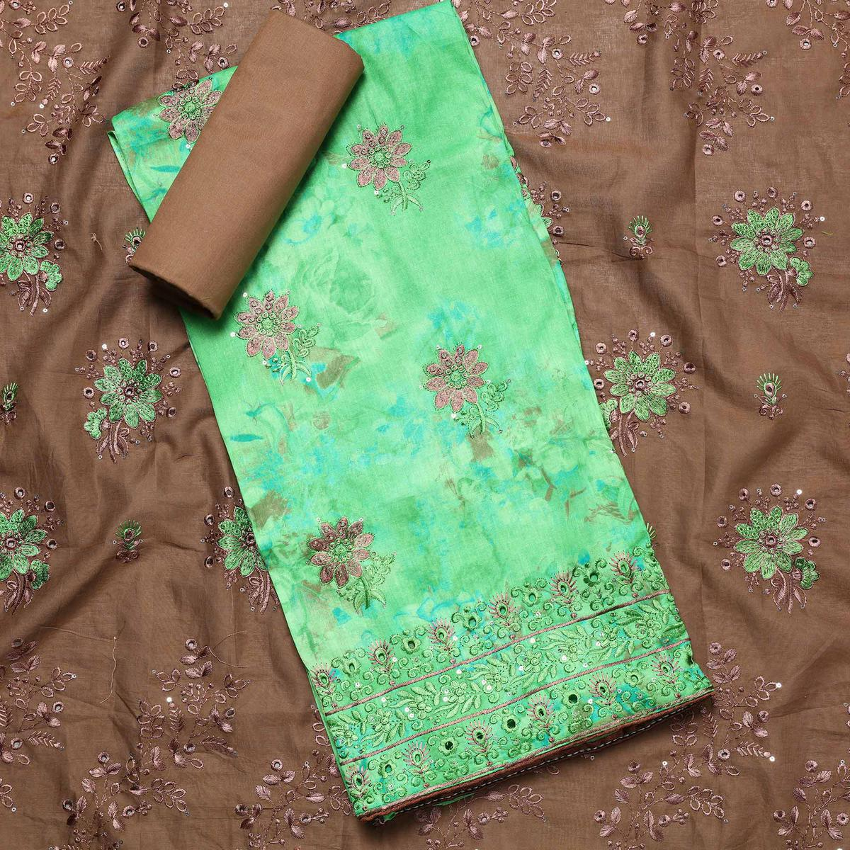 Impressive Green Colored Partywear Embroidered Cotton Dress Material