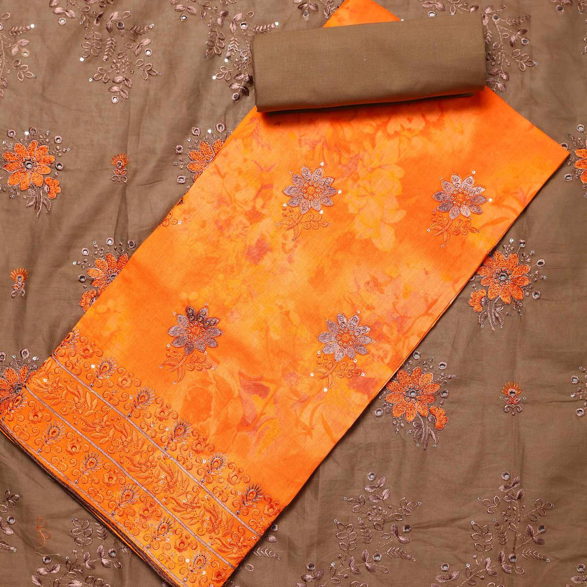 Flamboyant Orange Colored Partywear Embroidered Cotton Dress Material