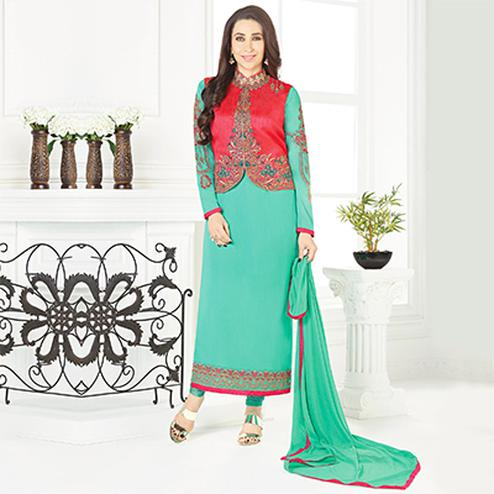 Stylish Green Designer Embroidered Faux Georgette Salwar Suit
