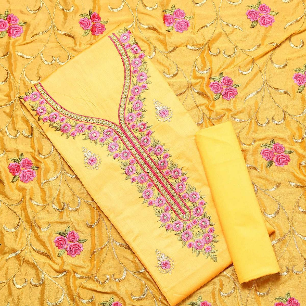 Prominent Yellow Colored Partywear Embroidered Silk Dress Material