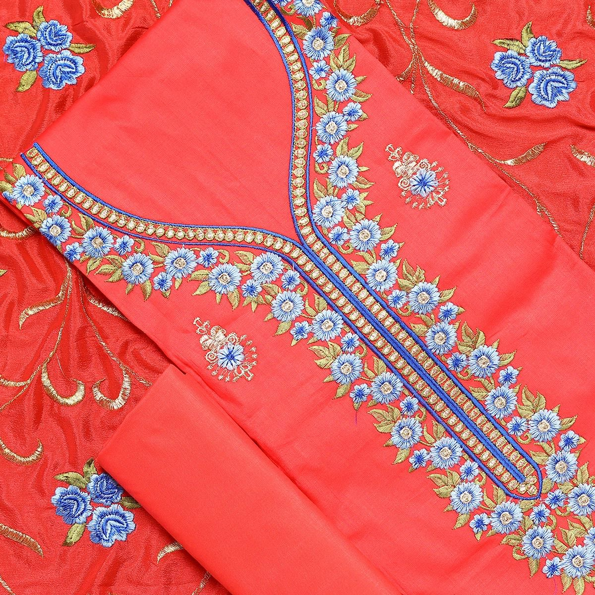 Desirable Red Colored Partywear Embroidered Silk Dress Material