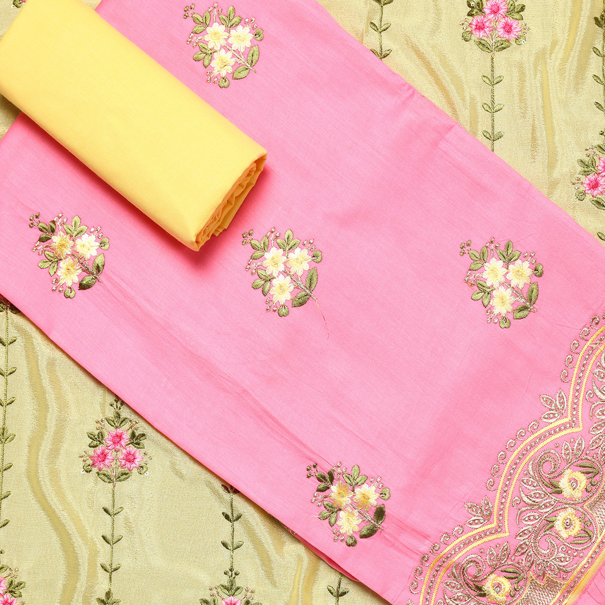 Ideal Light Pink Colored Partywear Embroidered Silk Dress Material