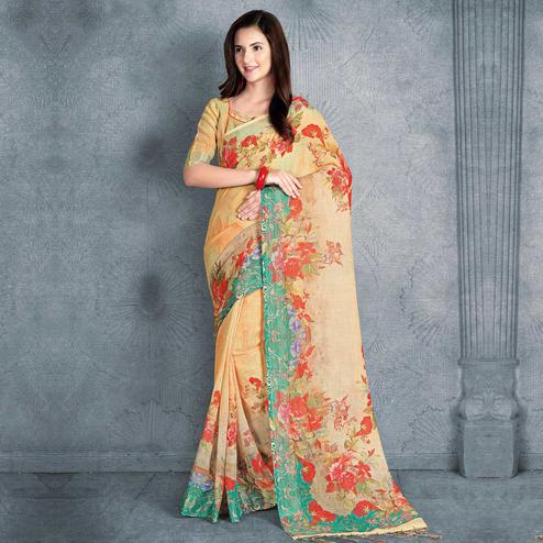 Classy Light Orange Colored Casual Printed Pure Linen Saree