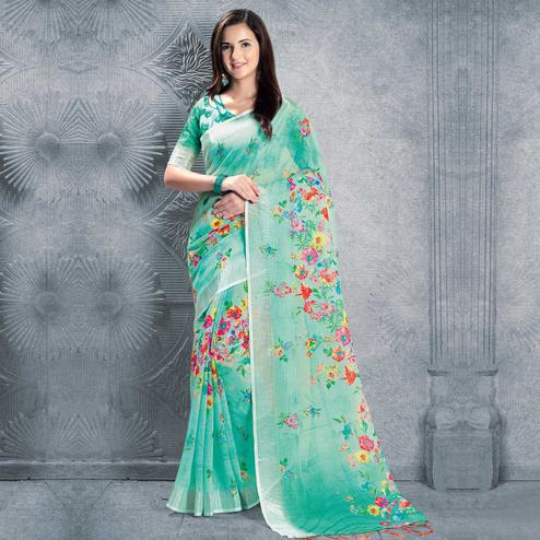 Delightful Mint Green Colored Casual Printed Pure Linen Saree