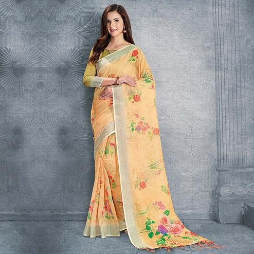 Engrossing Light Orange Colored Casual Printed Pure Linen Saree