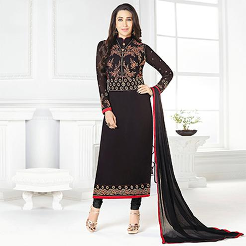 Adorable Black Designer Embroidered Faux Georgette Salwar Suit