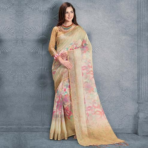 Exotic Beige Colored Casual Printed Pure Linen Saree
