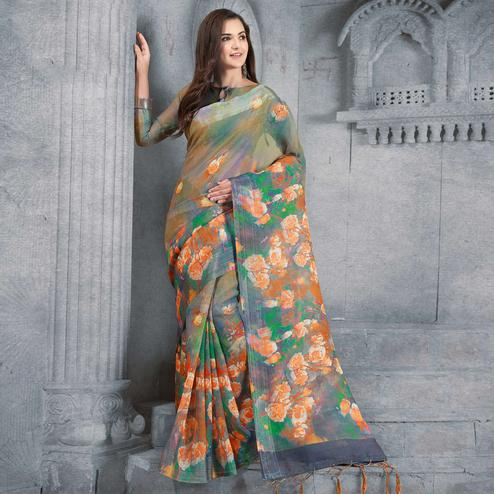 Eye-catching Multicolored Casual Printed Pure Linen Saree