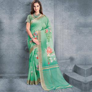 Fantastic Green Colored Casual Printed Pure Linen Saree