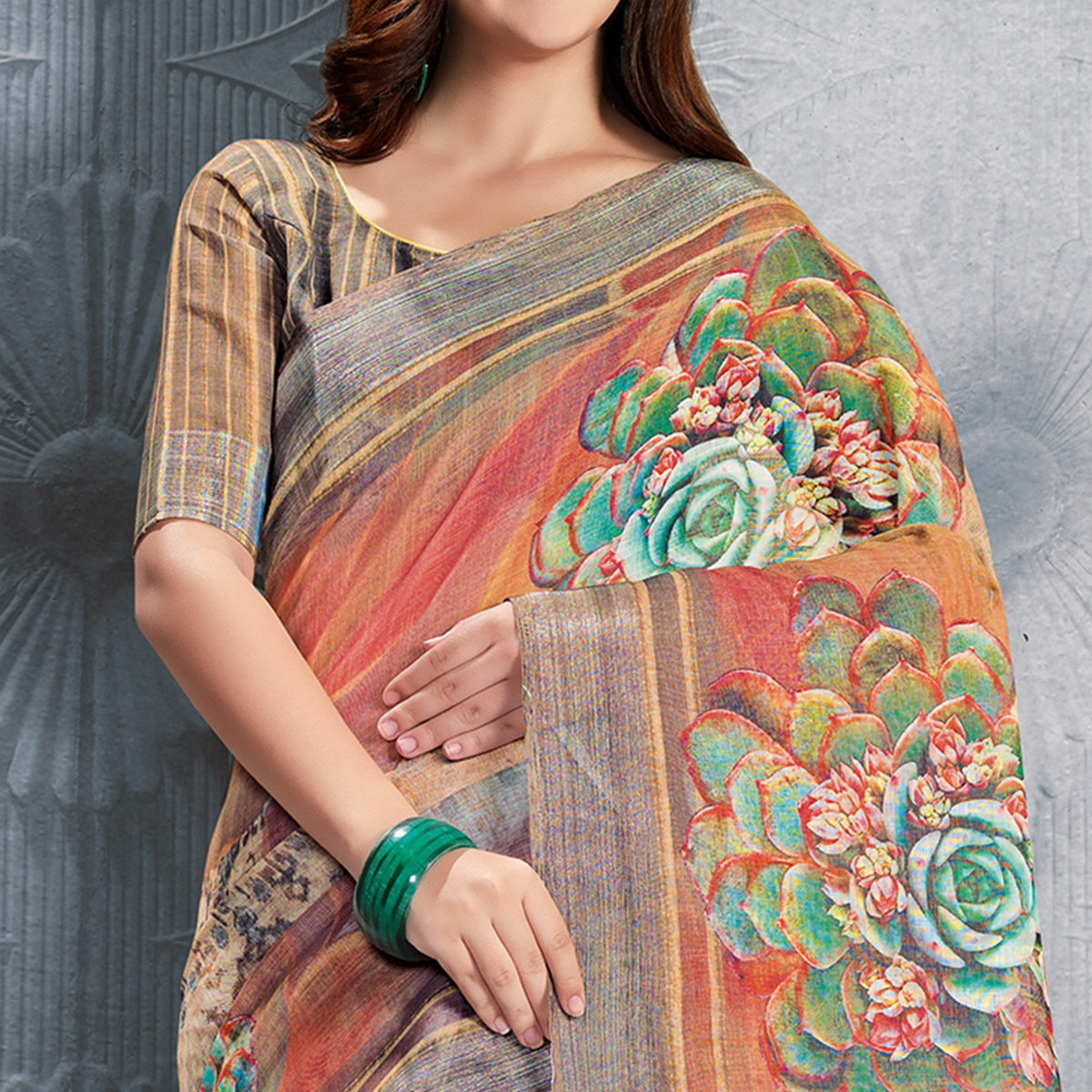 Glorious Orange-Multicolored Casual Printed Pure Linen Saree