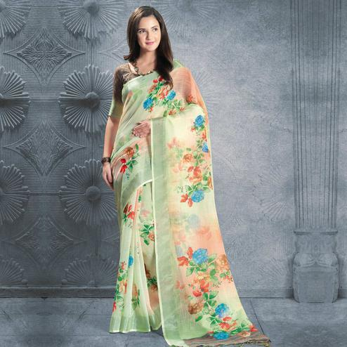 Gorgeous Light Mint Green Colored Casual Printed Pure Linen Saree