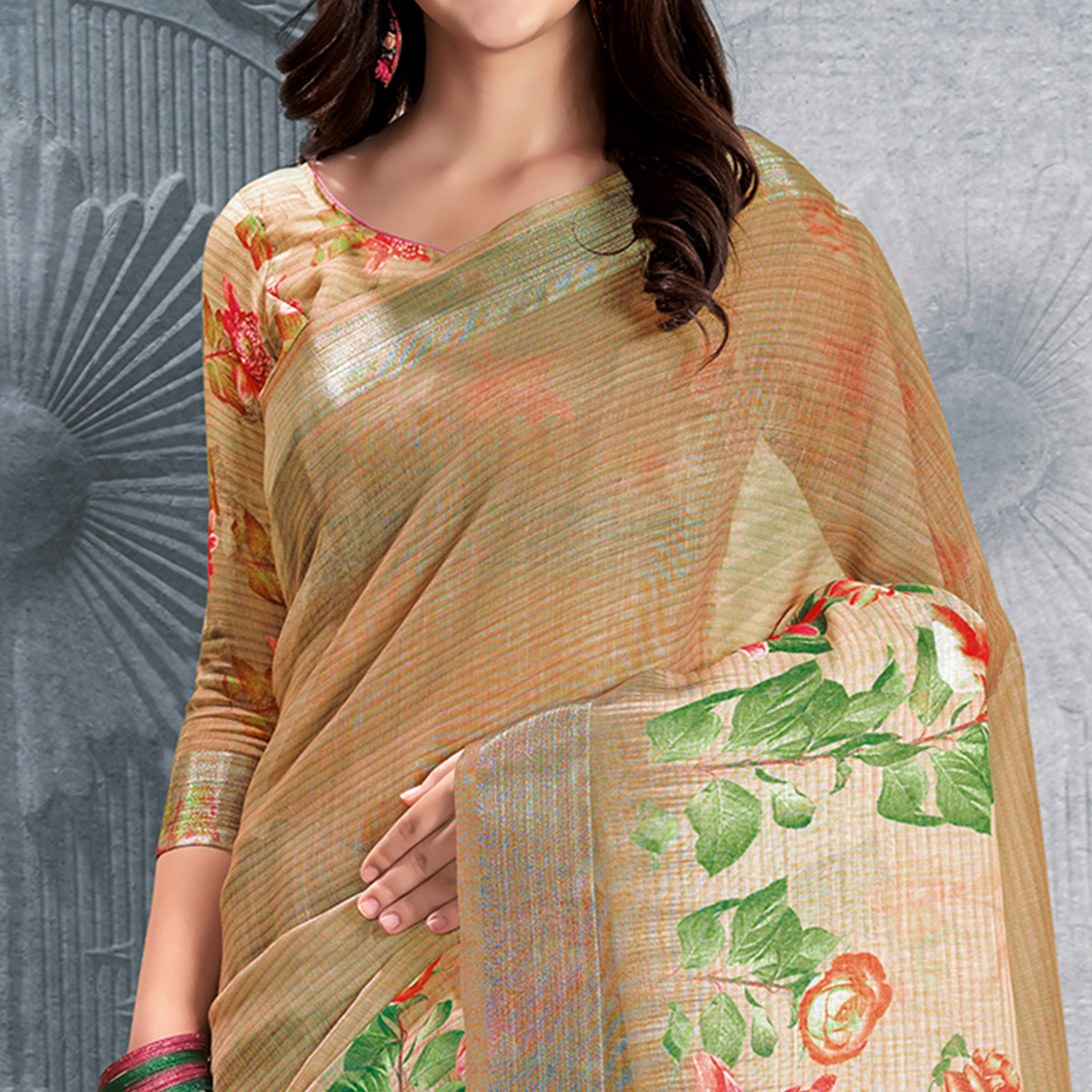 Graceful Brown-Beige Colored Casual Printed Pure Linen Saree