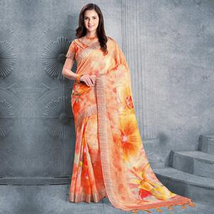 Ideal Orange Colored Casual Printed Pure Linen Saree
