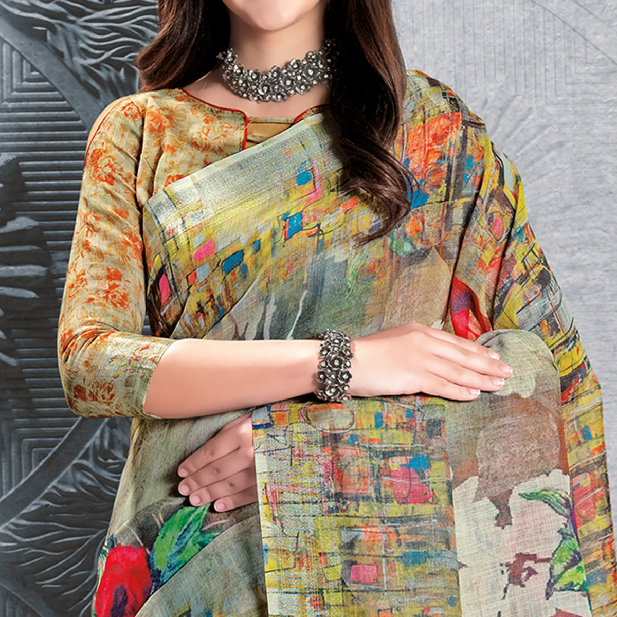 Imposing Multicolored Casual Printed Pure Linen Saree