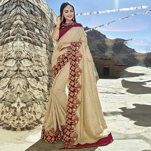 Ideal Beige Colored Party Wear Embroidered Georgette Saree