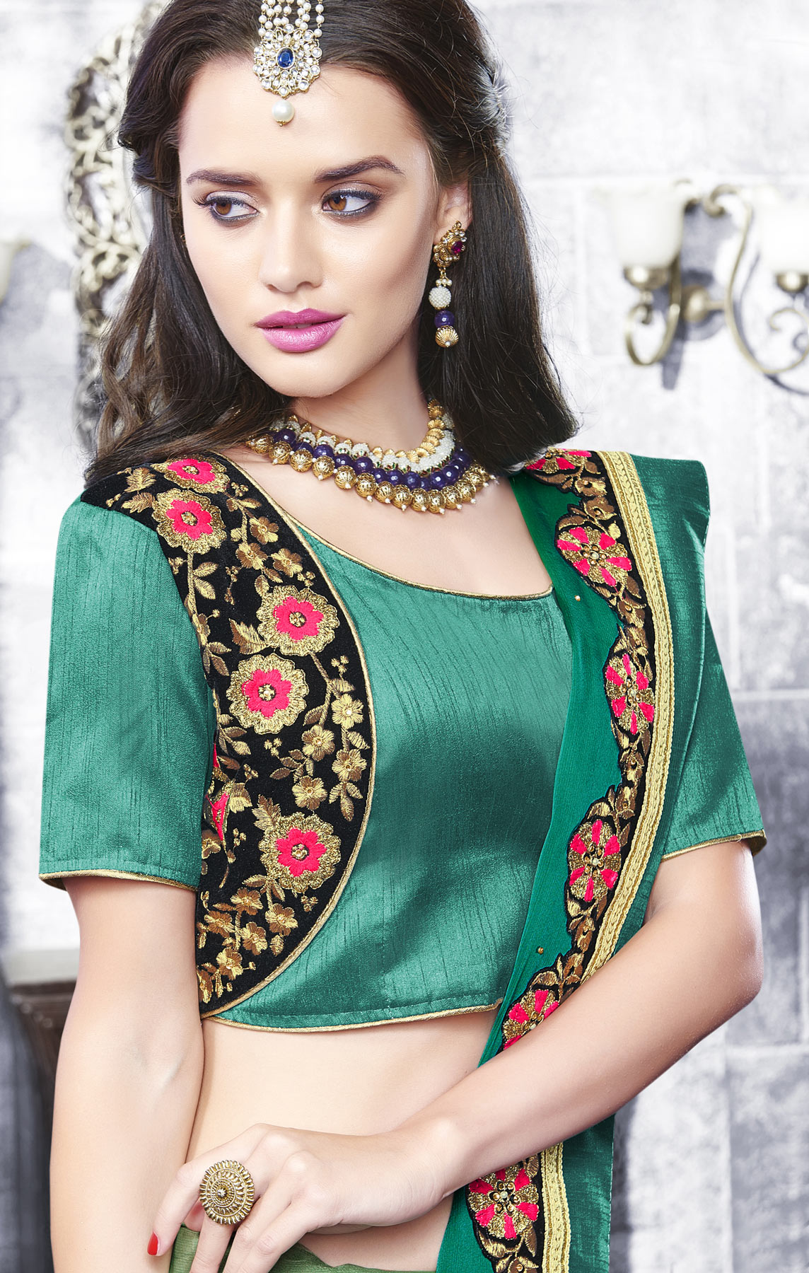 Beautiful Shaded Green Partywear Border Embroidered Saree
