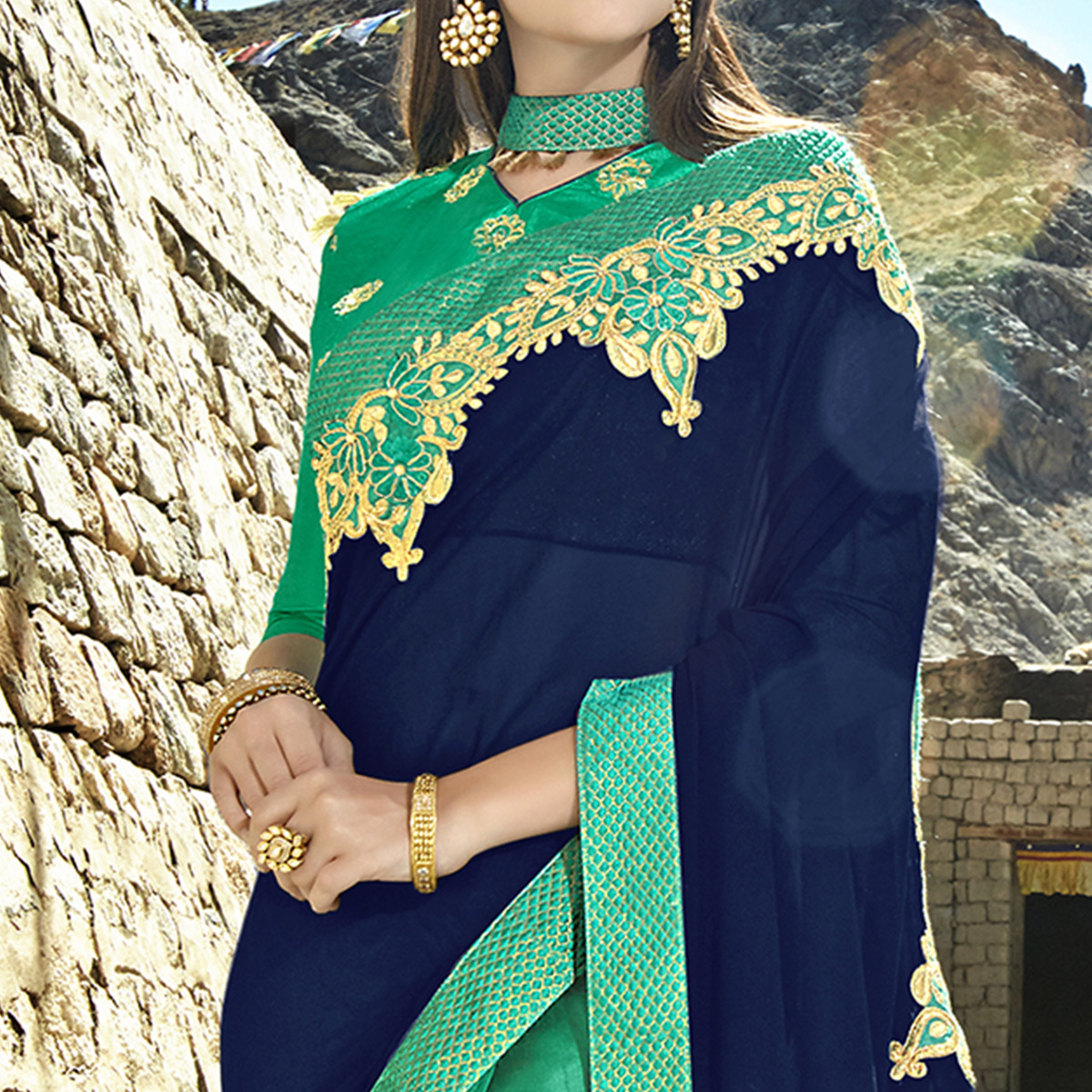 Imposing Turquoise Green-Navy Blue Colored Party Wear Embroidered Georgette Saree