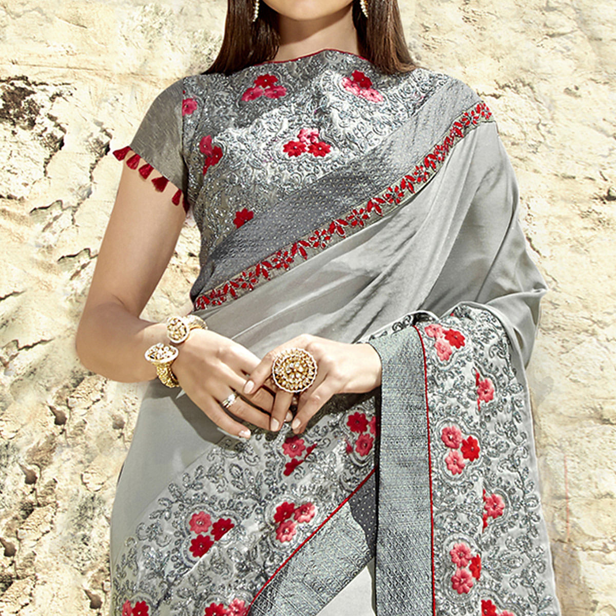 Lovely Grey Colored Party Wear Embroidered Georgette Saree