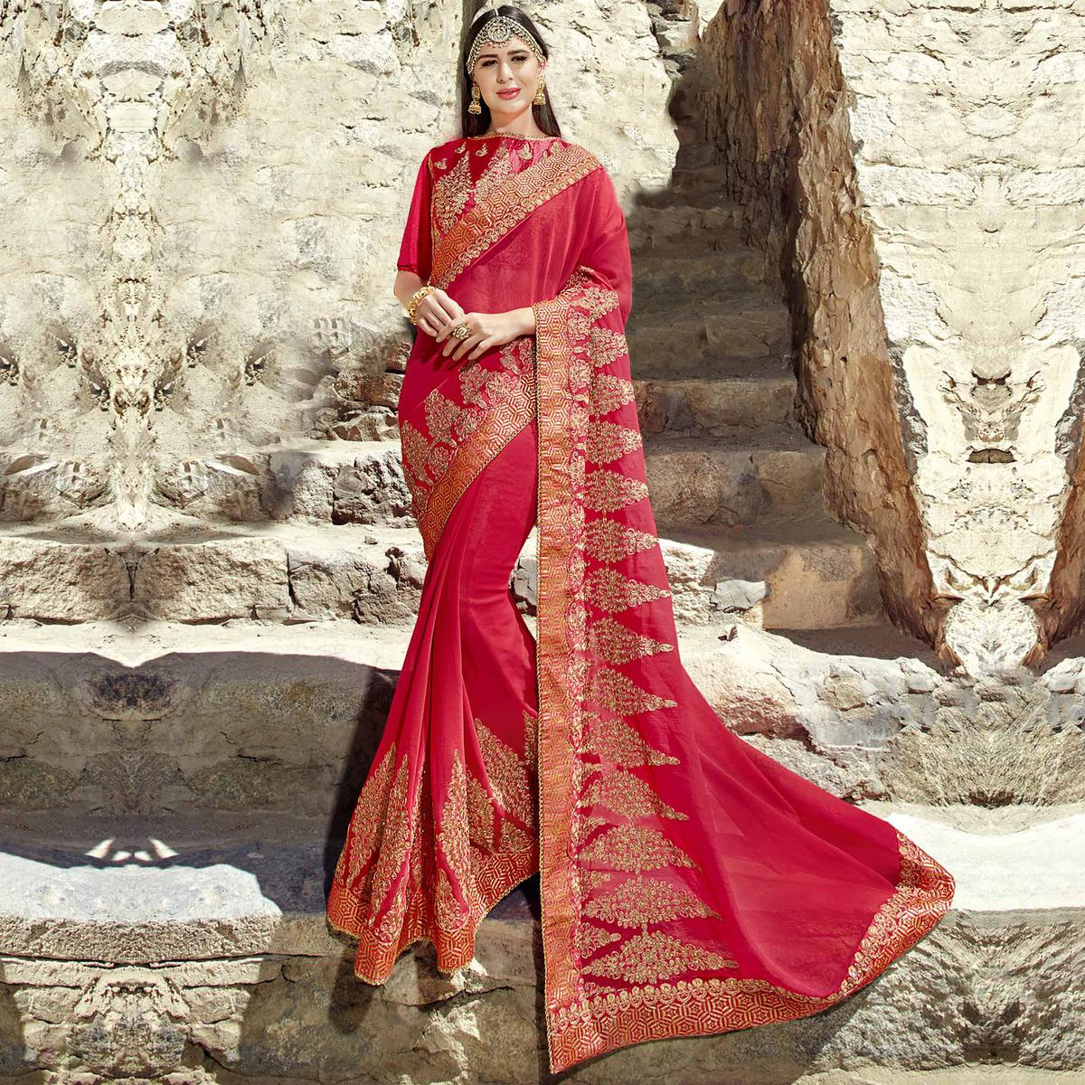 Majesty Red Colored Party Wear Embroidered Georgette Saree