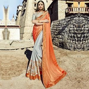 Marvellous Orange-Grey Colored Party Wear Embroidered Georgette Saree
