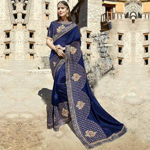 Mesmerising Navy Blue Colored Party Wear Embroidered Georgette Saree