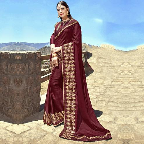 Pleasance Wine Colored Party Wear Embroidered Georgette Saree