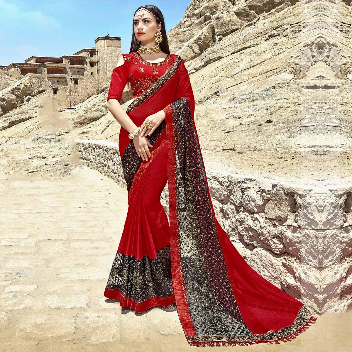 Preferable Red Colored Party Wear Embroidered Georgette Saree