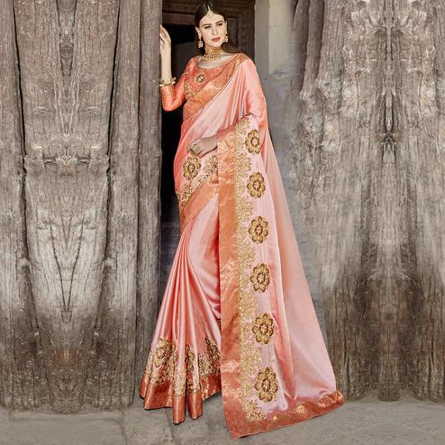Ravishing Peach Colored Party Wear Embroidered Georgette Saree
