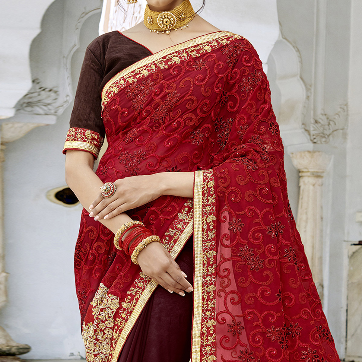 Flamboyant Wine-Red Colored Party Wear Embroidered Georgette Saree
