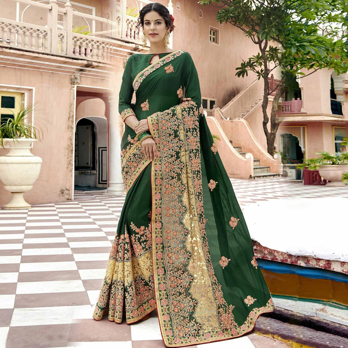 Ethnic Bottle Green Colored Party Wear Embroidered Georgette Saree